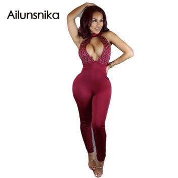 Ailunsnika 2017 Hot Sale Exotic Design Strapless Red Black Backless Full Length Club Wear Rompers Sexy Bodycon Jumpsuits OS1033