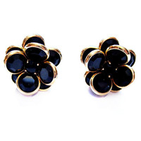 Vintage Black Crystal Pierced Earrings, Gold, Glass Flower