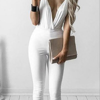 White V-Neck  Halter Neck Jumpsuit B0013741