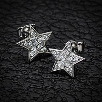 Pair of .925 Sterling Silver Gem Paved Small Star Ear WildKlass Ring Stud (Sold as a Pair)