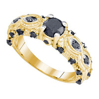Black Diamond 0.50 Fashion Ring in 10k Gold 1 ctw