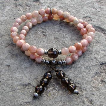 Joy and Positivity, Genuine Faceted Sunstone and Smokey Quartz 54 Bead Wrap Mala Bracelet
