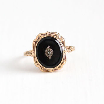 Vintage 10k Rosy Yellow Gold Black Onyx and Diamond Ring - Art Deco 1930s Size 8 Dark Black Oval Gemstone Statement Fine Jewelry