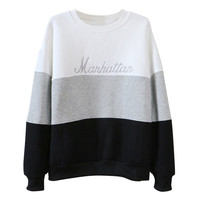 Letter Embroidered Long Sleeve Sweatshirt