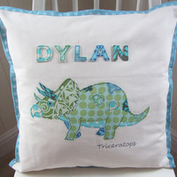 Triceratops dinosaur embroidered applique cushion pillow cover