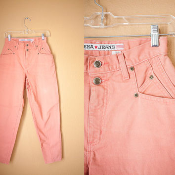 80s High Waisted JEANS | 80s Jeans Zena Jeans Skinny Jeans Grunge Tapered 80s pants Trousers Faded Distressed Pink Denim Preppy Fall Fashion