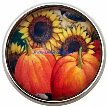 Sunflower Pumpkin Snap 20mm for Snap Charm Jewelry