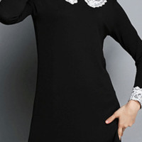 Lace Splicing Peter Pan Collar Mini Dress