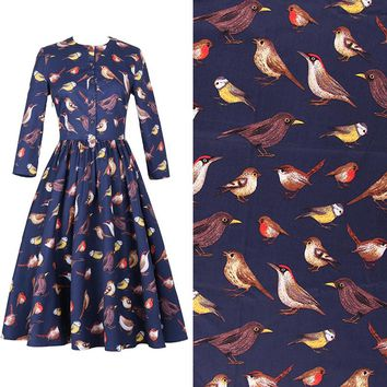 The bird printing High-density cotton original stretch poplin fabric for dress tissu au meter bright cloth DIY Width 140CM