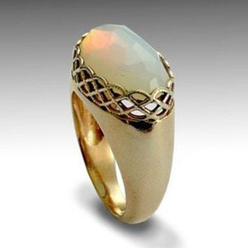 14k yellow gold ring combined gold inlaid opalite by artisanlook