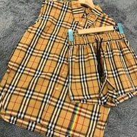 """Burberry"" Plaid Print Sleeveless Top Shorts Sweatpants Set Two-Piece"