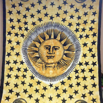 Yellow Sun & Moon Tapestry Wall Hanging Bedspread