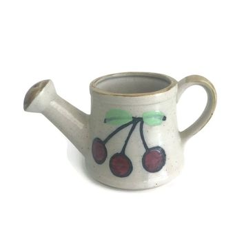 Watering Can Hand Painted Pottery with Cherries, Patio or Garden Decor, Country Decor, Cactus or Succulent Planter, Ceramic Flower Pot