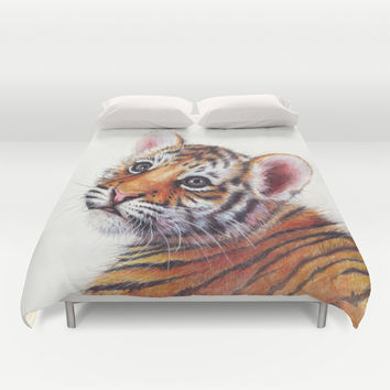 Tiger Cub Watercolor Painting Duvet Cover by Olechka