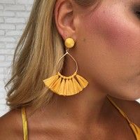 Punta Cana Straw Fringe Earrings In Mustard