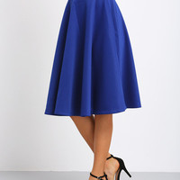 Blue Flare Long Skirt with High Waist