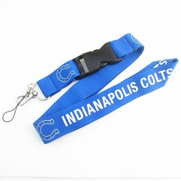 Indianapolis Colts Keychain Lanyard Neck Strap Key Ring For ID Pass Card Badge Gym Key Mobile Phone USB Holder Lanyard 6pcs/lot