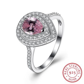 Sterling Silver Ring Water droplets Pink Simulated Diamond Ring