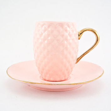 Pink Pineapple Ceramic Espresso Cup