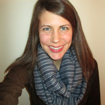 Navy Blue with White Striped, Knit, Infinity Scarf, Handmade