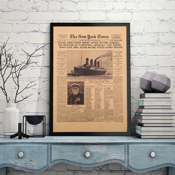 Titanic New York Times Headline Poster