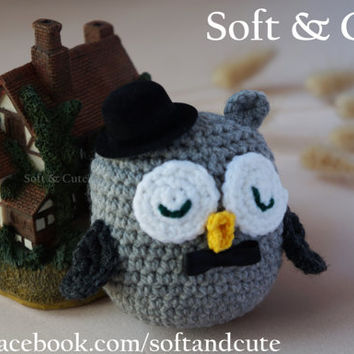 GREY GROOM OWL / wedding / matrimony / marriage / bachelor party / cake topper / party favor