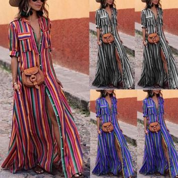 Summer Holiday Fashion Women Boho Maxi Long Dress Half Sleeve Floral Turn-down Collar Button Colorful Striped Beach Sundress