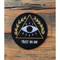 DIY Trust No One Patch Embroidered Applique Sew Iron On Patch
