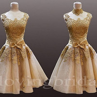 2014 Champagne Vintage Lace Evening dress Formal Dress Evening Dress Party Dresses Bridesmaid Dress Prom Dress Wedding Party Dresses 2014