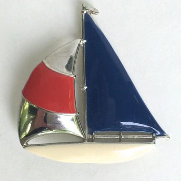 Red White and Blue Enamel Sail Boat Brooch
