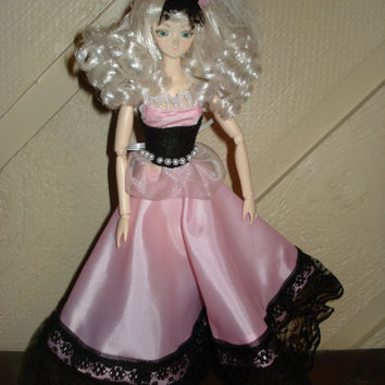 27 cm 1/6  Pink and Black Formal Dress and Hat Dollfie Clothing Set Barbie