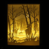 Silhouette Forest deer paper cut Light box Night light Accent Lamp Valentine's Day gift wedding birthday gift idea shadow box nursery room