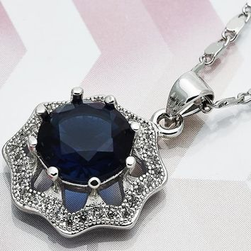 Rhodium Layered Women Fancy Necklace, with Sapphire Blue Cubic Zirconia, by Folks Jewelry