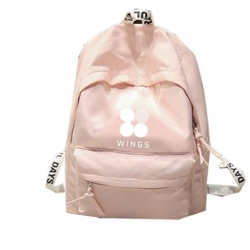 KPOP BTS Bangtan Boys Army  home   Boys WINGS The Same canvas bag backpack three colors are available AT_89_10