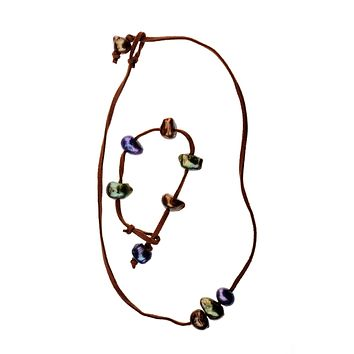 3 Pearl Necklace and Bracelet on suede, Purple, Green and Brown Baroque Fresh Water Pearls
