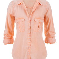 Lightweight Button Down Boyfriend Shirt - Melon
