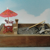 miniature zen beach garden lounge chairs by EnchantingGardenArt