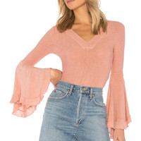 Free People Soo Dramatic Long Sleeve Tee in Rose | REVOLVE