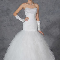 Tulle & Organza Ruffled Wedding Gown Swirling Rosette Skirt