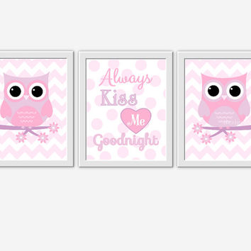 OWL Baby Girl Nursery Wall Art Pink Lavender Purple Girl Room Wall Art Nursery Owl Decor Kiss Me Goodnight Baby Girl Nursery Decor Prints