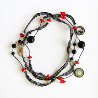 Vichy ribbon long fabric necklace red details metal charms necklace