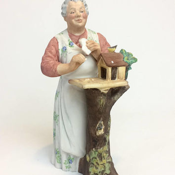 1973 Signed Michael Doulton, Royal Doulton Good Morning Figurine HN 2671, Woman Feeding Birds