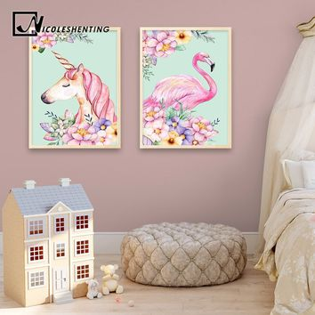 Nordic Style Flower Unicorn Flamingo Poster and Print Watercolor Animal Oil Painting On Canvas Wall Art Decorative Painting Nurs
