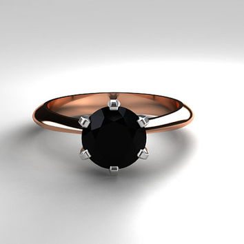 Black spinel engagement ring, rose gold, white gold, solitaire engagement ring, two tone, black engagement, unique, wedding ring, black gem