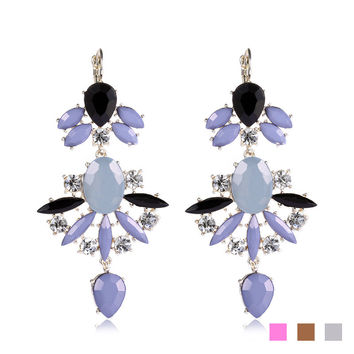 Accessory Alloy Diamonds Water Droplets Resin Hollow Out Earrings [6047572097]