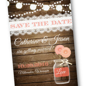 Coral Wedding Save the Date Coral Peach Wood Rustic mason jar card  string of lights rustic lace vintage shabby chic printable invitation