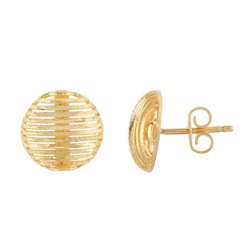 14K Yellow Gold 10mm Diamond Cut Ridged Pattern Round Button Post Earring with Push Back Clasp