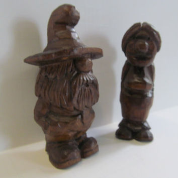 Mr and Mrs Gnome Antique Carved Wooden Gnome Figurines Norwegian Troll Wood Carving Sculpture Figurines Wizard Fairy Garden Gnomes