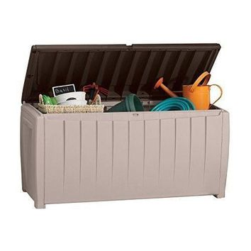 Outdoor Storage Deck Plastic Box Food Double Patio Furniture Gal Brown Garden