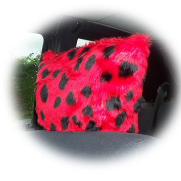 ladybird ladybug headrest covers red and black spot spotty animal print faux fur furry fluffy fuzzy car seats 1 pair